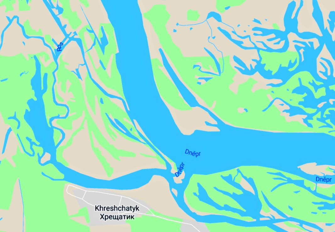 Mapa delty řeky Ros. Místo, kde se vlévá do Dněpru.